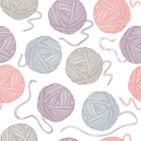 Vector naadloos patroon met garenballen in bohostijl. Kan worden bedrukt en gebruikt als inpakpapier, behang, textiel, stof, etc.