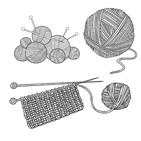 Vector set of knitting tools and yarn. Can be used as a sticker, icon, logo, design template, coloring page