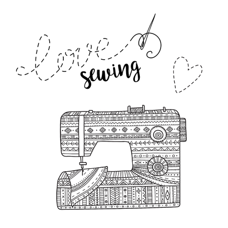 Vector card with sewing machine and lettering. Can be printed and used as banner, card, placard, sticker, invitation, design template, label, coloring page