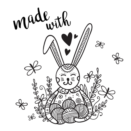 Vector card knitting theme with cute bunny and lettering. Can be printed and used as banner, card, placard, sticker, invitation, design template, label, coloring page