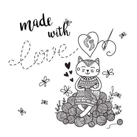 Vector card knitting theme with cute cat and lettering. Can be printed and used as banner, card, placard, sticker, invitation, design template, label, coloring page
