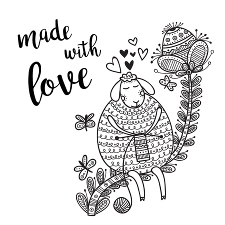 Vector card knitting theme with cute sheep and lettering. Can be printed and used as banner, card, placard, sticker, invitation, design template, label, coloring page Иллюстрация