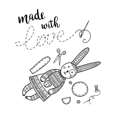 Vector card handmade theme with lettering, sewing tools and bunny toy. Can be printed and used as banner, card, placard, sticker, invitation, design template, label, coloring page