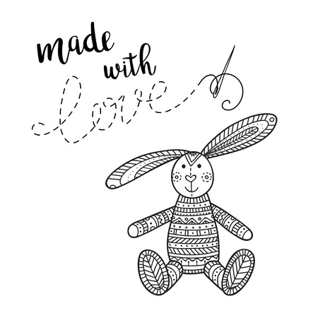 Vector card handmade theme with lettering and bunny toy. Can be printed and used as banner, card, placard, sticker, invitation, design template, label, coloring page Иллюстрация