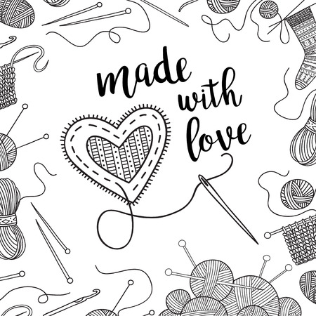 Vector card knitting theme with lettering. Can be printed and used as banner, card, placard, sticker, invitation, design template, label, coloring page