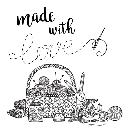 Vector card knitting theme with needlework tools and lettering. Can be printed and used as banner, card, placard, sticker, invitation, design template, label, coloring page