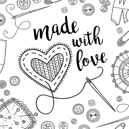 Vector card needlework theme with lettering and sewing tools. Can be printed and used as banner, card, placard, sticker, invitation, design template, label, coloring page Иллюстрация
