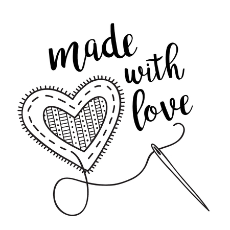 Vector illustration with sewing heart and lettering Can be used as a sticker, icon, logo, design template, coloring page. Иллюстрация