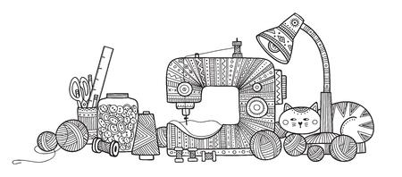 Ilustracja wektorowa narzędzi do robótek ręcznych. Może służyć jako naklejka, ikona, logo, szablon projektu, strona do kolorowania. Logo