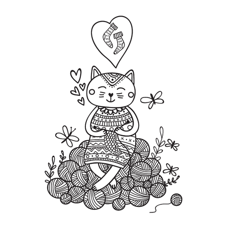 Vector illustration of cute cat knitting on yarn balls. Can be used as a sticker, icon, logo, design template, coloring