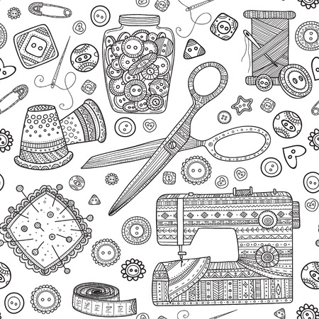 Vector seamless pattern with needlework tools, sewing theme. Can be printed and used as wrapping paper, wallpaper, textile, fabric, coloring page.