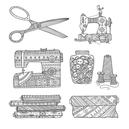 Vector illustration of needlework tools. Can be used as a sticker, icon, logo, design template, coloring page. Ilustração
