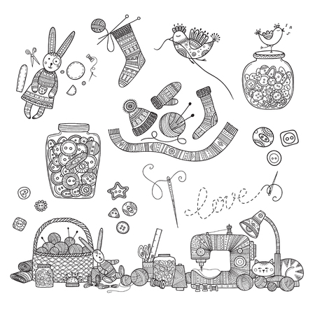 Vector illustration of needlework, knitting tools. Can be used as a sticker, icon, logo, design template, coloring page.
