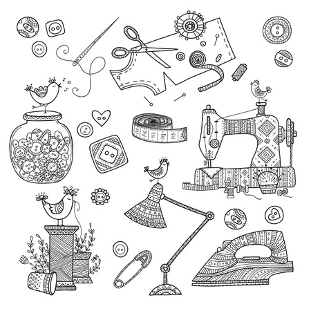 Vector illustration of needlework, sewing  tools. Can be used as a sticker, icon, logo, design template, coloring page.