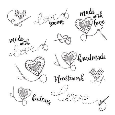 Vector lettering logo set, sewing, embroidery theme with heart.  Can be used as a sticker, icon, logo, design template