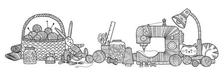 Ilustracja wektorowa robótek ręcznych, narzędzia do szycia. Może służyć jako naklejka, ikona, logo, szablon projektu, strona do kolorowania. Logo