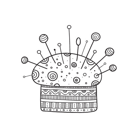 Vector illustration of pin cushion in boho style with ornament. Can be used as a sticker, icon, logo, design template, coloring page.