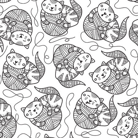 Vector seamless pattern with cute cats and yarn balls . Can be printed and used as wrapping paper, wallpaper, textile, fabric, coloring page Иллюстрация