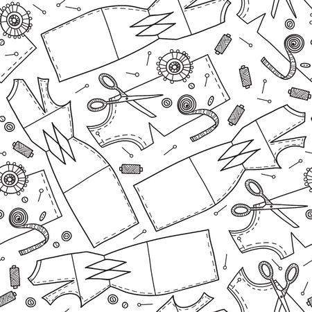 Vector seamless pattern with sewing pattern and needlework tools. Can be printed and used as wrapping paper, wallpaper, textile, fabric, coloring page