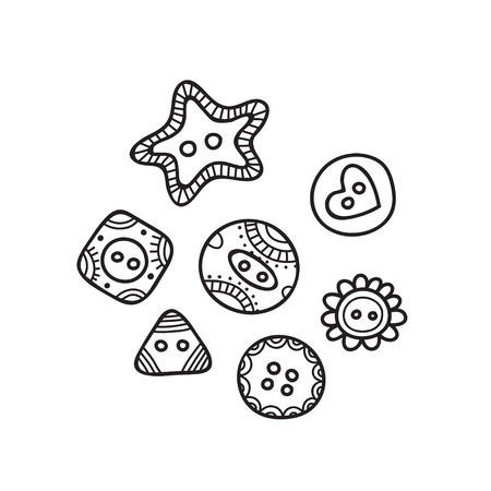 set of cloth buttons in different designs in boho style with ornament. Can be used as design template, element, sticker, logo, icon