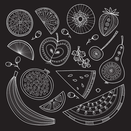 Vector illustration of nutrient-rich fruits in tribal, zen doodle boho style. Can be printed and used as raw, vegan and vegetarian design element, template, card, textile, fabric, etc.
