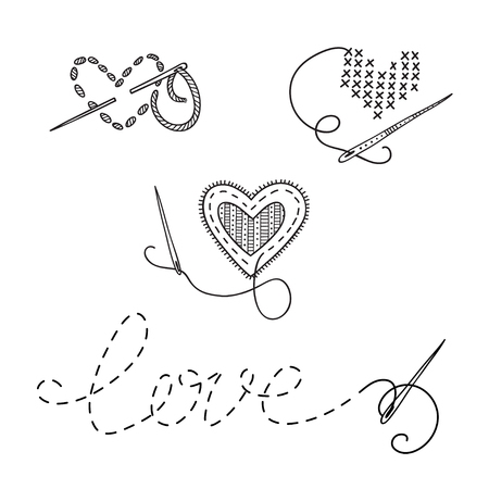 Vector logo set, sewing theme with heart. Can be used as a sticker, icon, logo, design template Иллюстрация