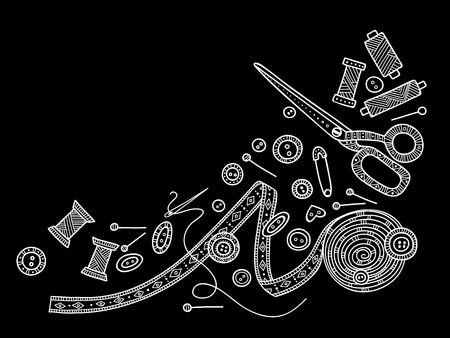 Vektor-Illustration von Handarbeiten, Nähwerkzeuge. Kann als Aufkleber, Symbol, Logo, Designvorlage verwendet werden
