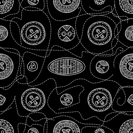 seamless pattern with cloth sewing buttons in boho style with ornaments. Can be printed and used as wrapping paper, wallpaper, textile, fabric, etc.