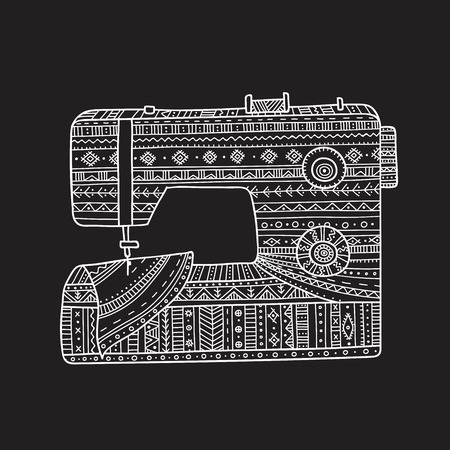 Vector illustration of sewing machine in boho style with ornament. Can be used as a sticker, icon, logo, design template,