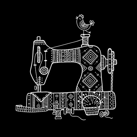 Vector illustration of sewing machine in boho style with ornament.  Can be used as a sticker, icon, logo, design template, Stock Illustratie