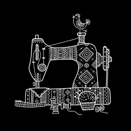 Ilustracja wektorowa maszyny do szycia w stylu boho z ornamentem. Może służyć jako naklejka, ikona, logo, szablon projektu, Logo