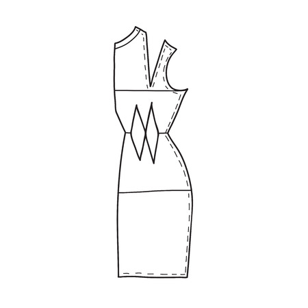 Vector illustration of sewing pattern. Can be used as a sticker, icon, logo, design template, coloring page.