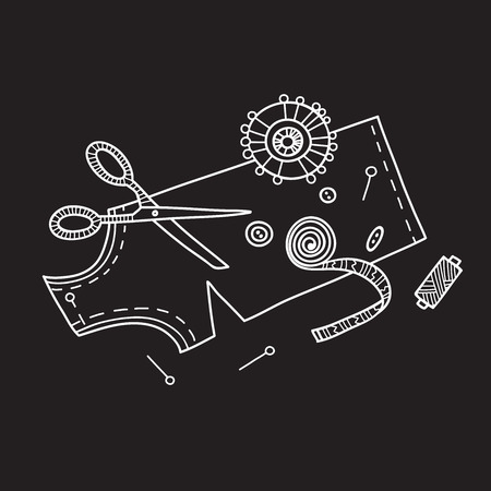 Vector illustration of needlework, sewing  tools. Can be used as a sticker, icon, logo, design template