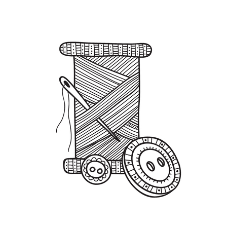 Vector illustration of spool of thread with button and needle. Can be used as a sticker, icon, logo, design template, coloring page.