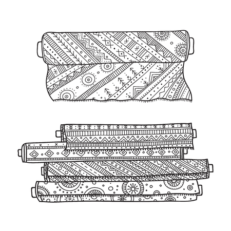 Vector illustration of fabric rolls. Can be used as a sticker, icon, logo, design template, coloring page.