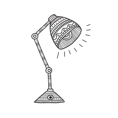 Vector illustration of table lamp in boho style with ornaments. Can be used as a sticker, icon, logo, design template, coloring page.
