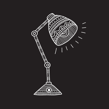 Vector illustration of table lamp in boho style with ornaments. Can be used as a sticker, icon, logo, design template