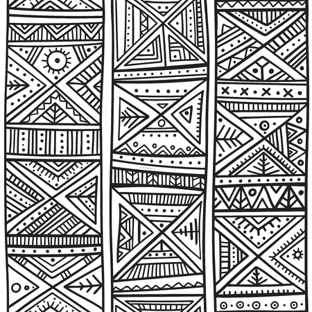 Tribal African seamless pattern in boho style with ethnic ornaments. Can be printed and used as wrapping paper, wallpaper, coloring page, textile, fabric, etc.