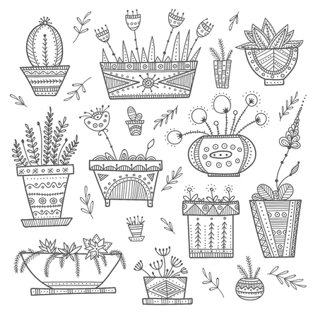 Flower pots and house plants set. Can be used as template, coloring page, card, poster, etc Иллюстрация