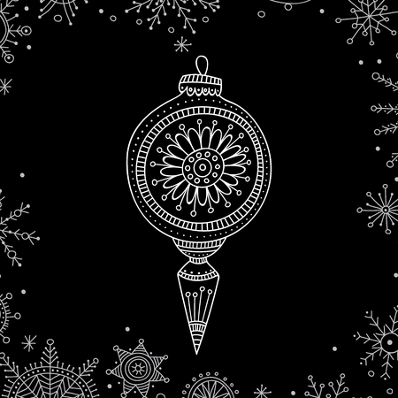 Vector Christmas tree decoration bauble line art in boho style. Иллюстрация