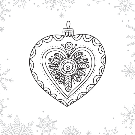 Vector Christmas coloring tree decoration bauble in boho style with ornament. Иллюстрация