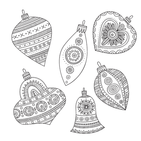 Vector Christmas tree decoration baubles line art in boho style wit ornament.