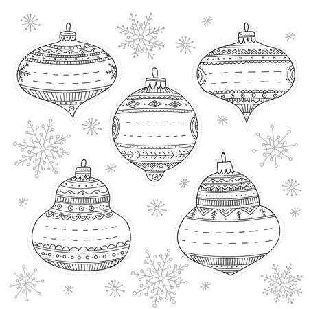 Vector Christmas baubles gift tags coloring. Can be printed and used for gifts and decoration, New Year wishes, coloring page, Иллюстрация