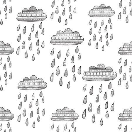 Seamless vector pattern with decorated rainy cloud. Can be printed and used as wrapping paper, wallpaper, textile, fabric, etc.