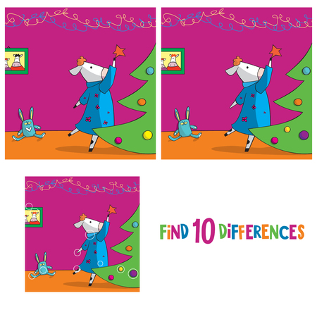 Cute cow decorating Christmas tree. Find 10 differences. Educational game for children. Cartoon vector illustration Vectores