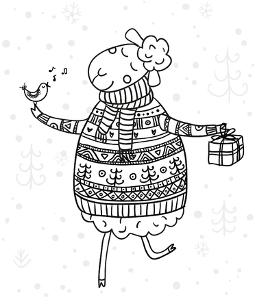 Vector Christmas coloring page with cute sheep illustration. Can be used and printed as colouring book page, for New Year and winter holidays, for kids.