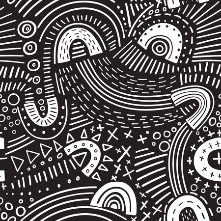 Vector abstract marker lines seamless pattern. Isolated, colorless. Can be used as a background, pattern, wrapping paper, backdrop, wallpaper or as bag template, print for packet, apparel, textile, fabric etc.