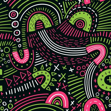 Vector abstract marker lines seamless pattern. Can be used as a background, pattern, wrapping paper, backdrop, wallpaper or as bag template, print for packet, apparel, textile, fabric etc. Фото со стока - 127893213
