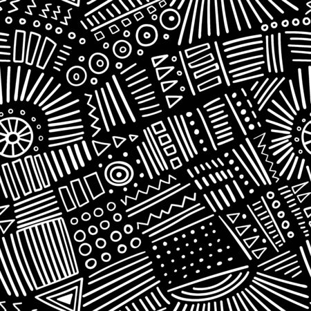 Vector abstract marker lines seamless pattern. Isolated, colorless. Can be used as a background, pattern, wrapping paper, backdrop, wallpaper or as bag template, print for packet, apparel, textile, fabric etc. Фото со стока - 127893151