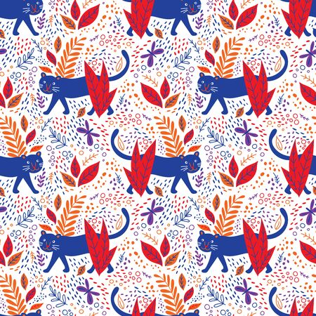 Black panther in jungle seamless pattern. Can be printed and used as wrapping paper, wallpaper, fabric, textile, background, kids apparel Фото со стока - 127893165